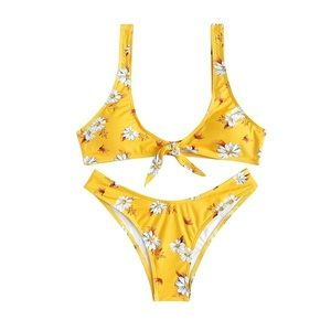 Other - Yellow Daisy Tie Front Bikini Sets, S-L